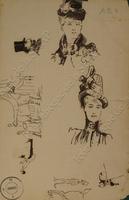 Deux visages de femmes, un profil d'homme, un cocher, un lad, des chevaux